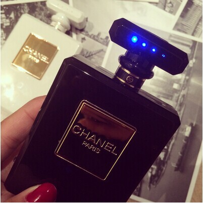 Black Chanel Perfume Bottle Power Bank Portable Charger On