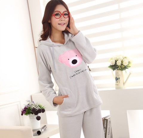 Women s coral fleece nighty sleepwear cute bear pattern autumn winter ladies  long sleeve pajamas nightwear 6a47c8592