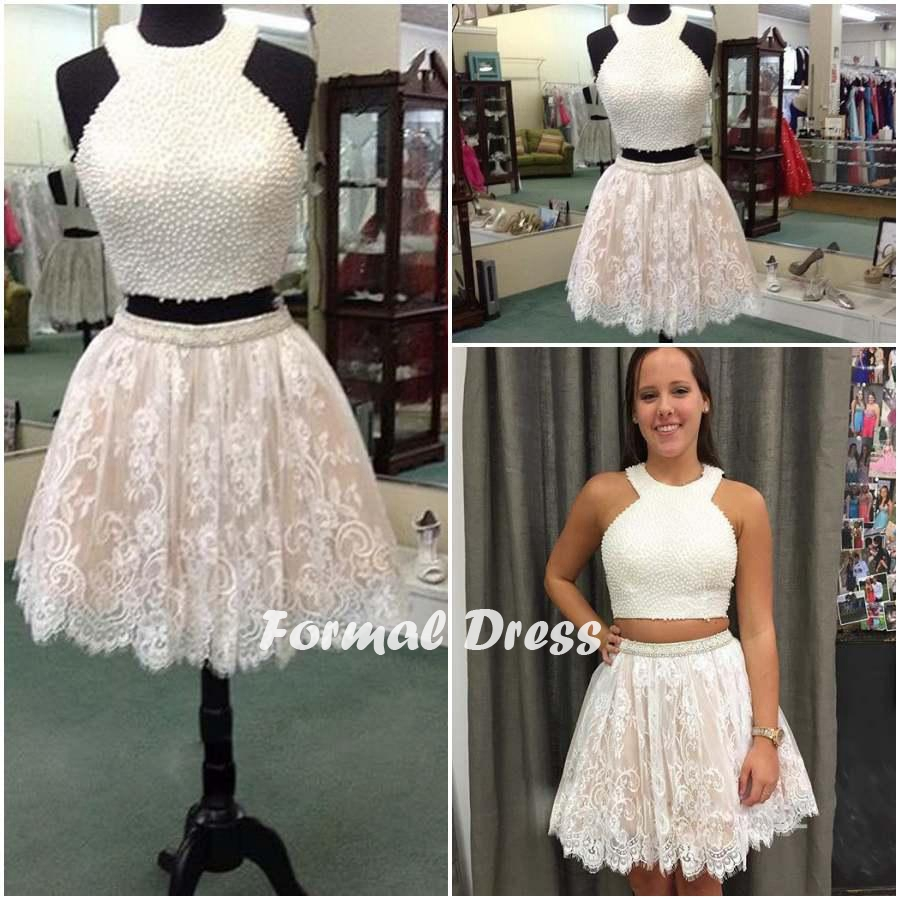 aaec47f3584 A-line White 2 Pieces Lace Short Prom Dress