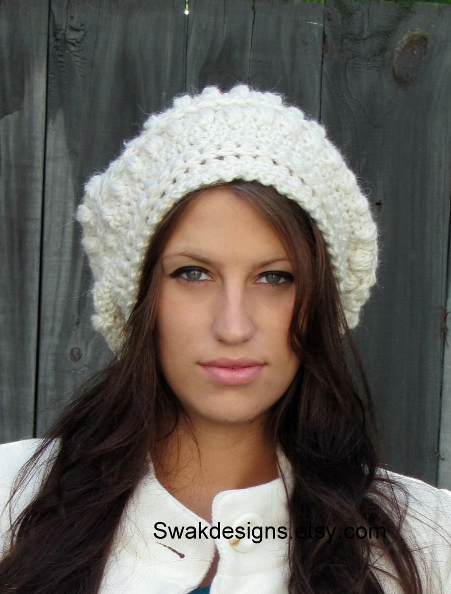 f29f5b45cd020 ... Slouchy Bobble Hat Slouchy Beanie Cap Handmade Knit Cap Alpaca Soft  Wool Beanie Winter White or ...