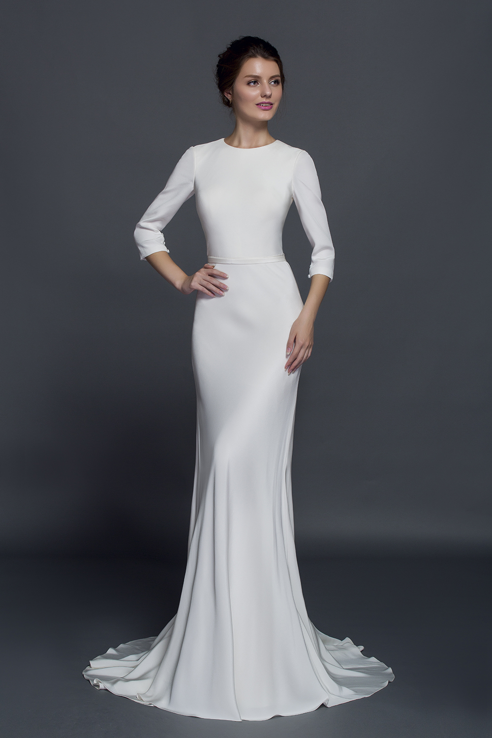 plus size silk crepe gown 3/4 sleeves & ribbon belt wedding dress from  curvy brides