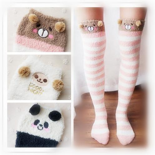 8cee2db33 Spreepicky cutie animal fleece thigh high long socks sp154247 5 grande  original