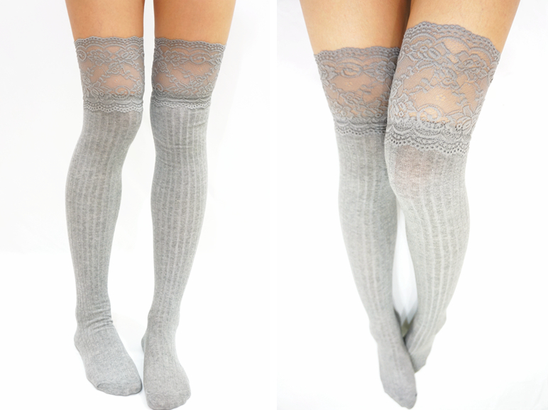 ac071494b Thigh Lace Knit Knee High socks Boot socks -Light Grey · Sandysshop ...