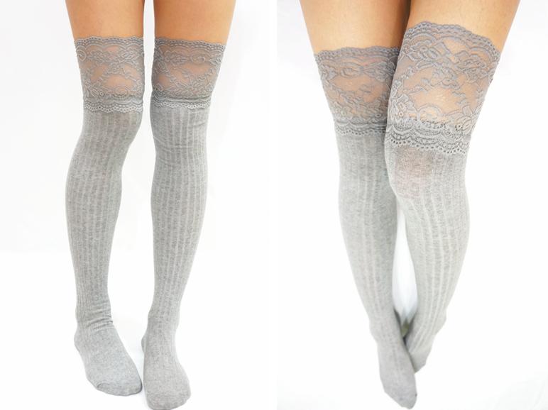 98669bbac ... Thigh Lace Knit Knee High socks Boot socks -white - Thumbnail 2