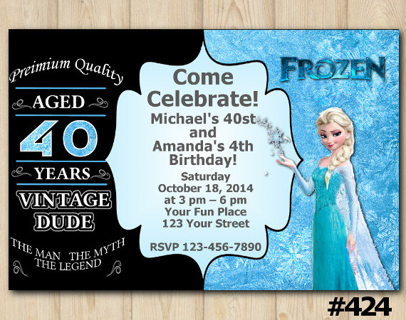 Joint Twins Invitation Vintage 40th Frozen Birthday Custom Printable File DIY275 From DIY Party Printables