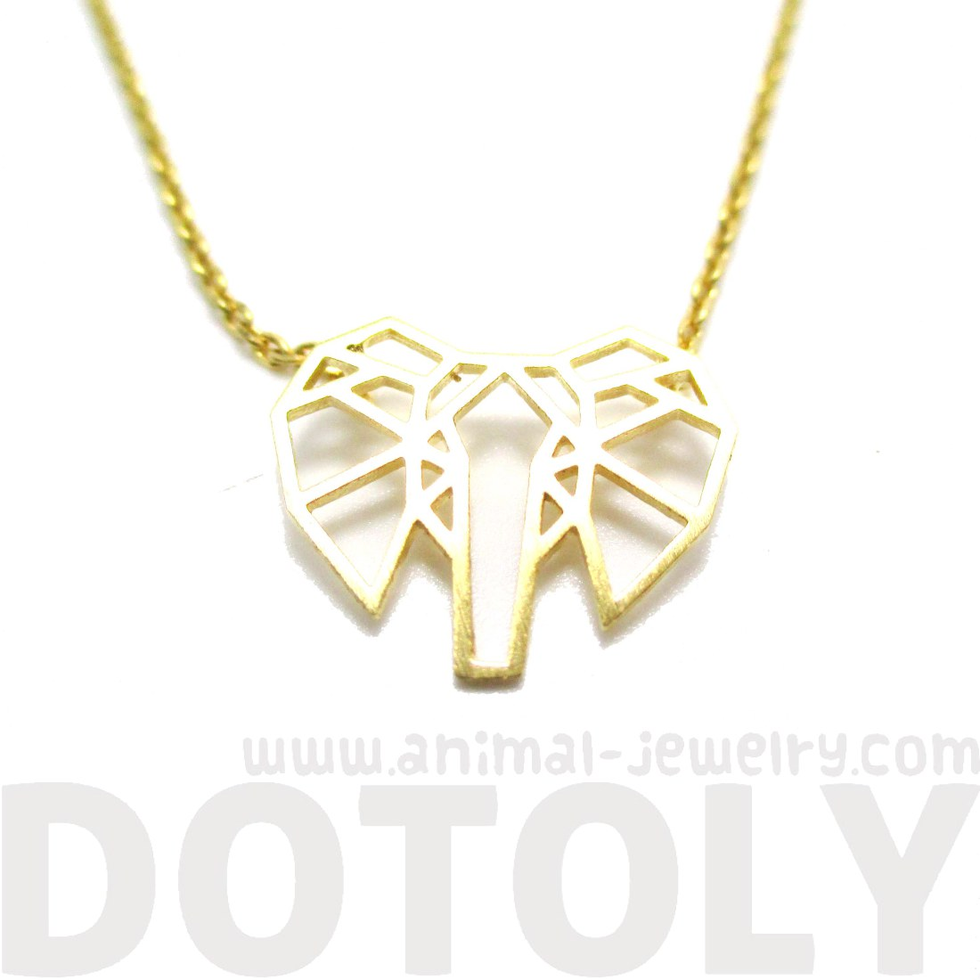 African Elephant Face Outline Shaped Pendant Necklace In Gold Dotoly Cute Small