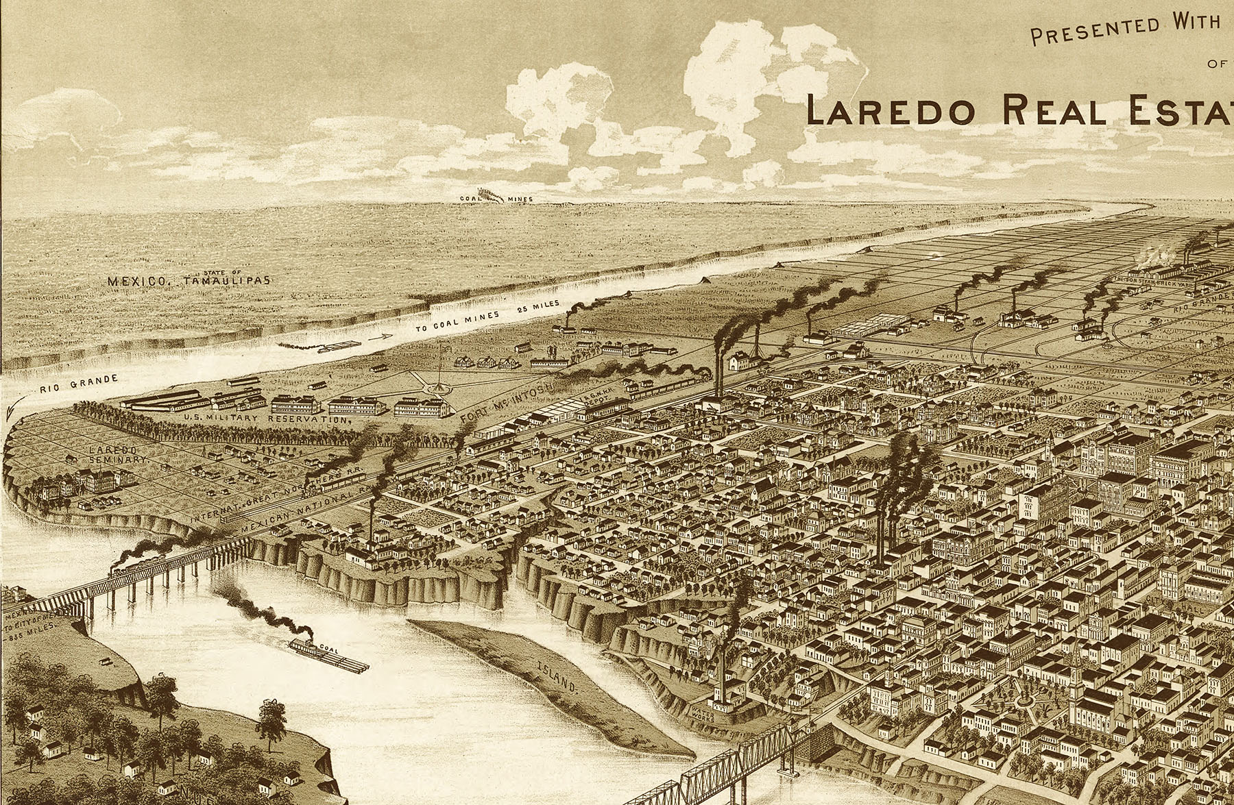 Laredo, Texas in 1892 - Bird's Eye View, Aerial Panorama, Vintage ...