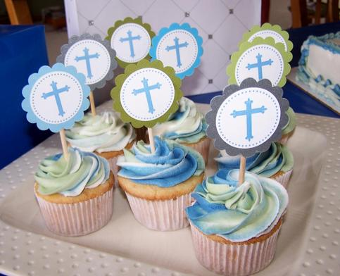 Cross Cupcake Toppers For Baptism Christening Or First