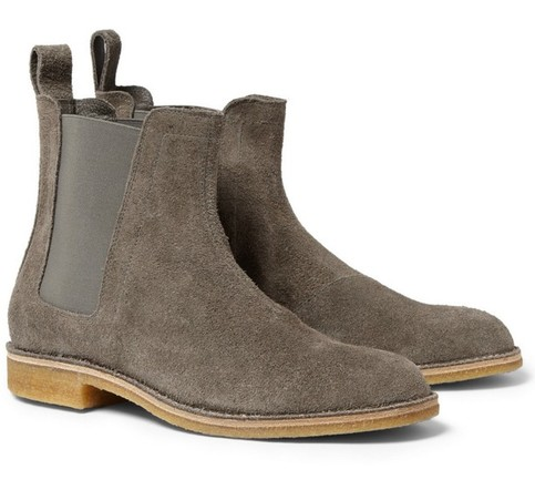 Handmade Mens Gray Color Chelsea Suede Leather Boots Men