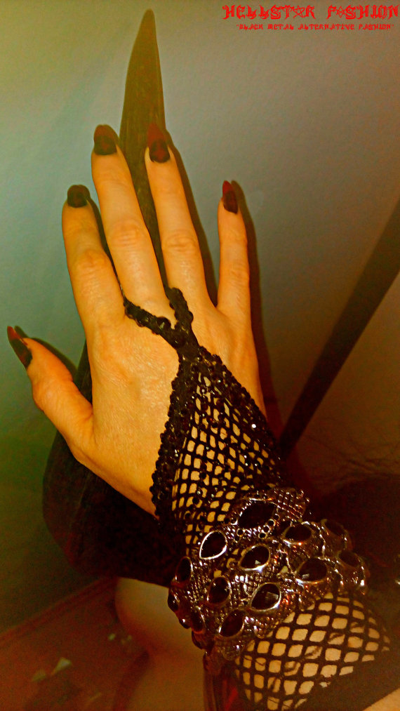 silver black crystal serpent snake viper satanic occult ritual black magick  stretchy bangle bracelet from Hellstar Fashion