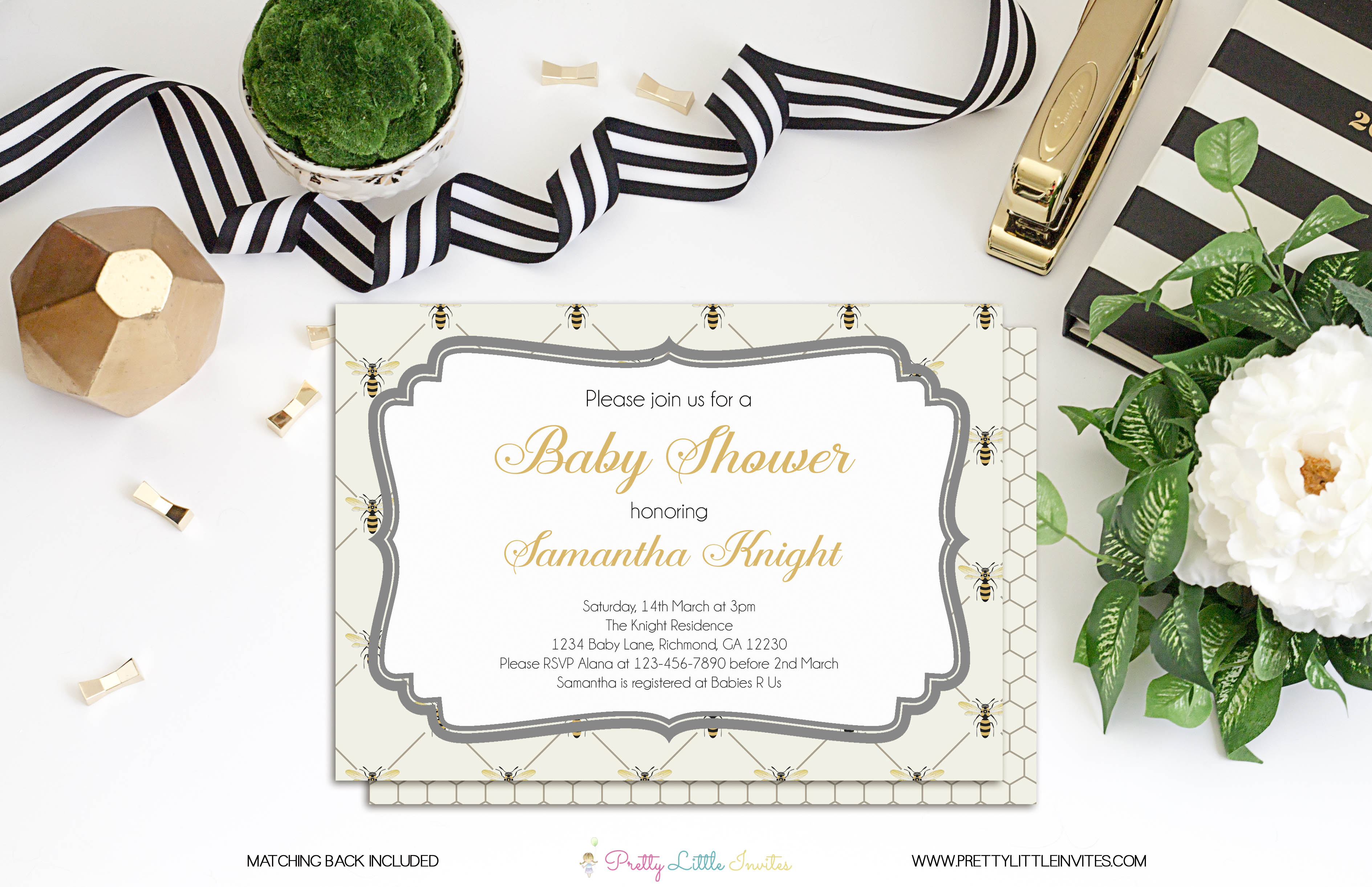 Bee Baby Shower Invitation Bee Honeycomb Mommy To Be Baby Shower