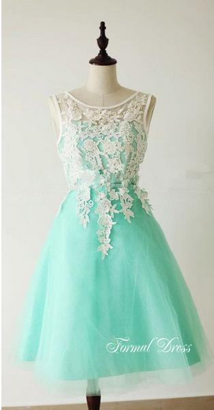 79ecbb19348 ... Custom Made A-Line Round Neck Light Green Short Lace Prom Dresses
