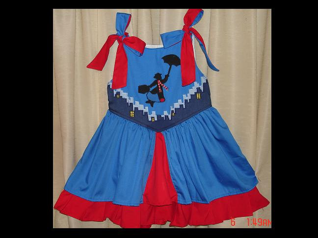 770db2fc02bbc Mary Poppins Appliqued Princess Custom Sundress(-----)Shoulder  Ties(-----)Sizes 12 months to Girls size 8