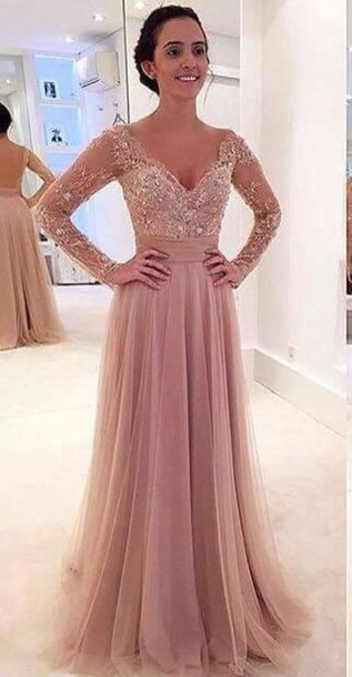Long sleeve prom dresses, lace prom dresses, tulle prom dresses ...