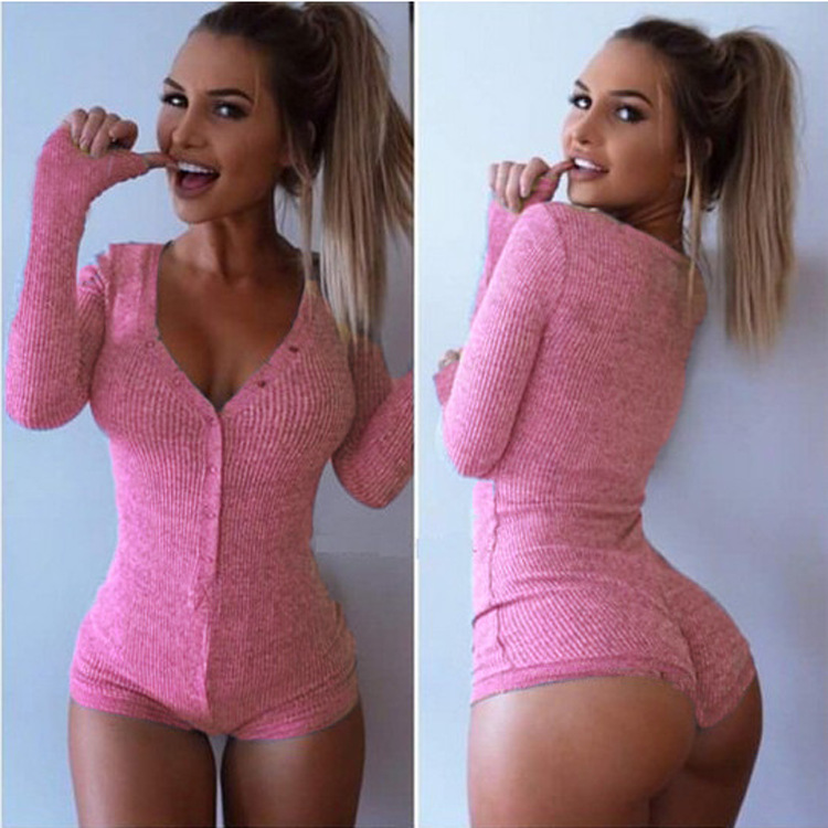 98aae78c73c6 Amrzs knitted rompers womens jumpsuit 2016 sexy deep v neck bodycon  bodysuit black gray long sleeve