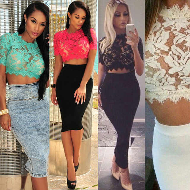 083b3475c26 Camisetas mujer women summer black lace crop top 2015 sexy see through  graphic tees women tops