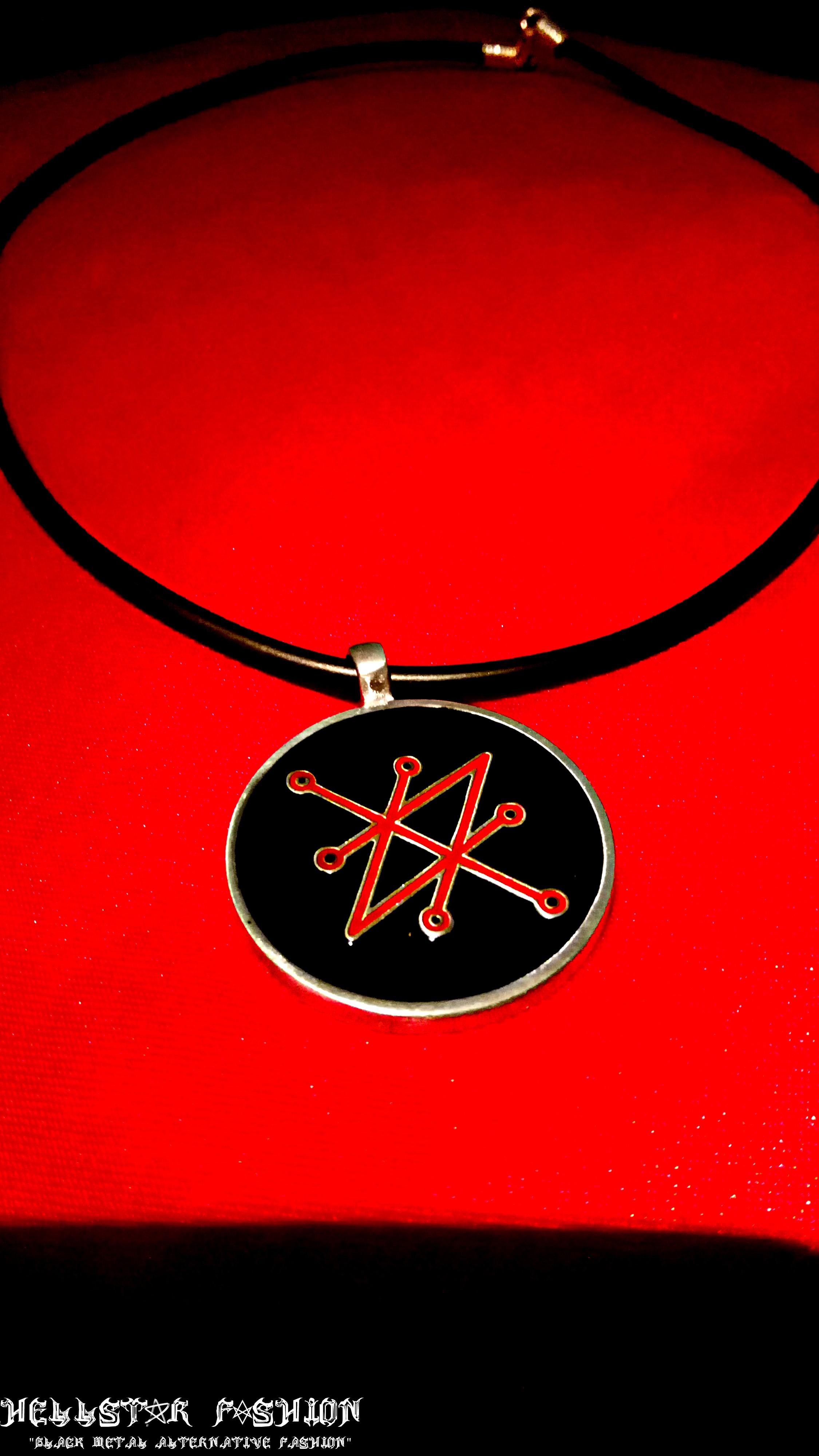 azazel sigil of saturn satanic demon ritual occult black magick pendant  choker necklace from Hellstar Fashion