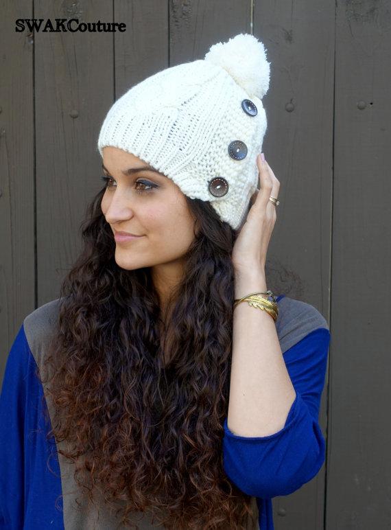 a330ffac6d51c 3 button pom pom hat knit beanie winter white knit cap