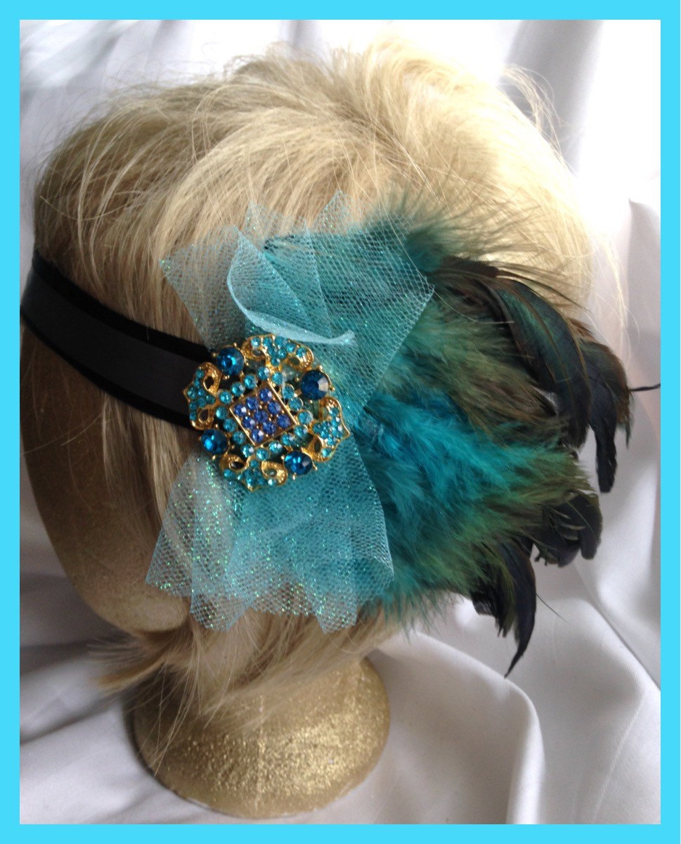 Blue Green Turquoise Feather Fascinator Hair Brooch Glitter Tulle Black  Silver Satin Tie Headband Wedding Party ff568ff46eb