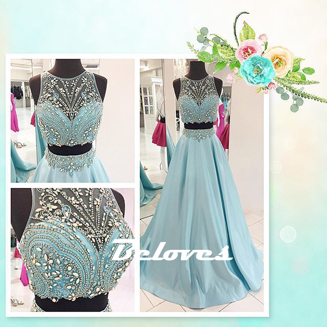0e7f67509fe8 Ice Blue Satin Sleeveless Two Piece Prom Dress With Beaded Crop Top ...