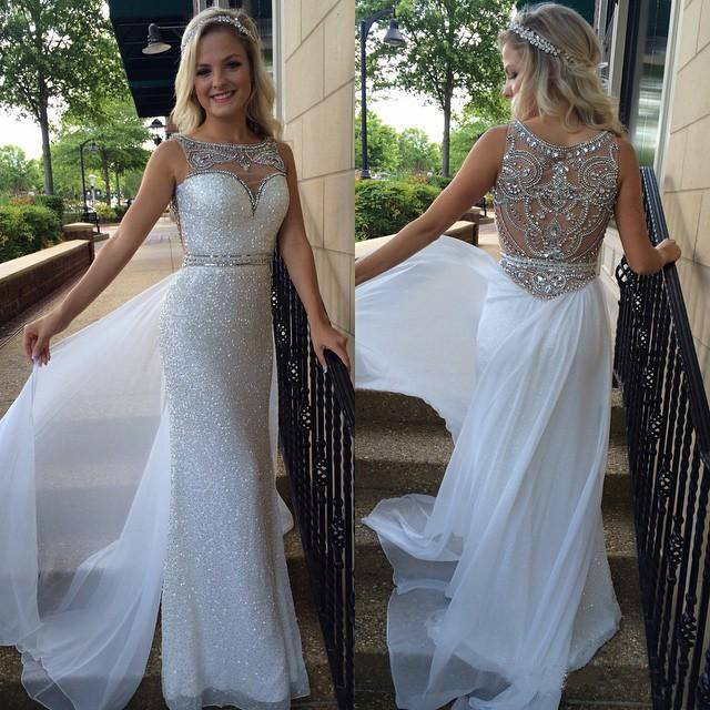 Sheath O neck White Chiffon Silver Sequins Lace Prom Dress Long ... aa009ed4bfd7