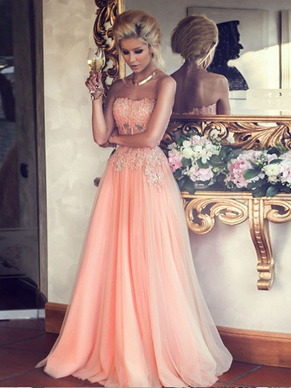 e781257b80ba9 Hot Sales A-line Strapless Lace Appliqued Bodice Blush Pink Tulle Skirt  Long Prom Dresses Evening Gowns