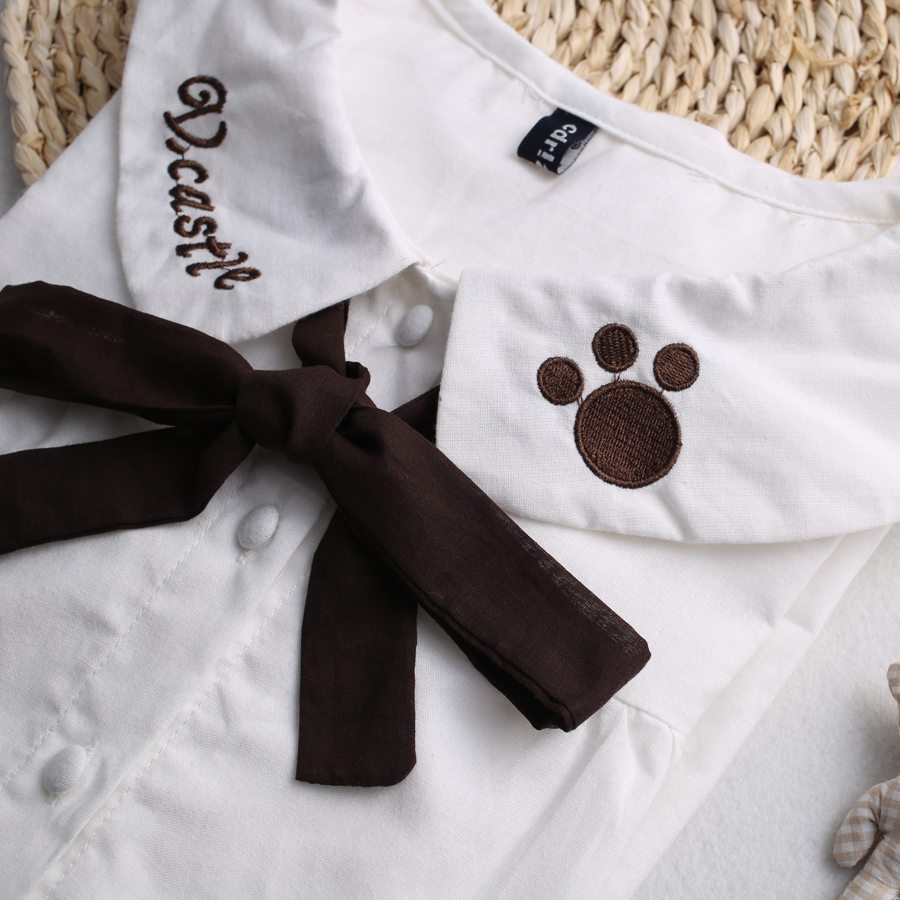 3847ee01fda Lolita Cat Paw Print Doll Collar Women Blouse With Bowknot from Sweetbox  Store
