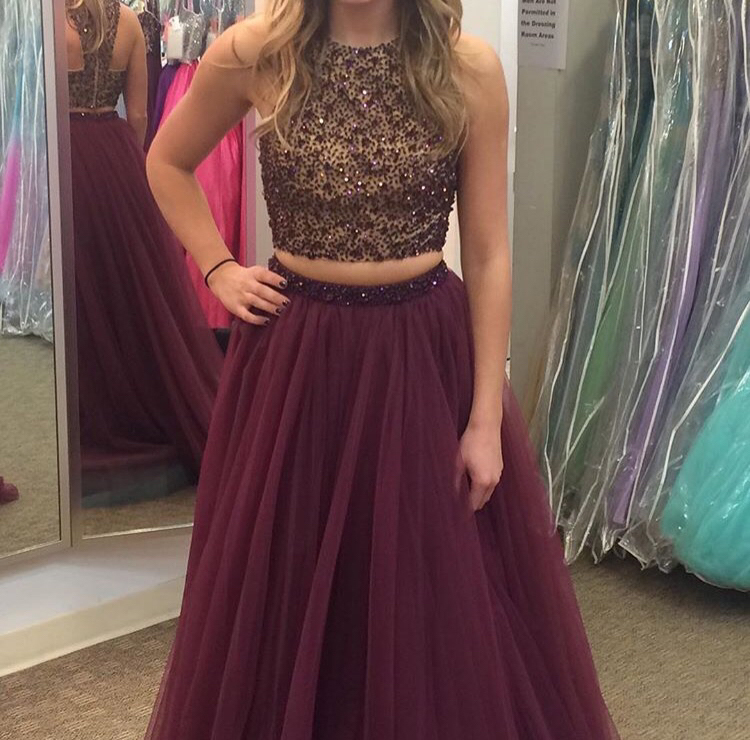 A-line Two Piece Prom Dress Beaded Bodice Plum Tulle Skirt APD1671 ...