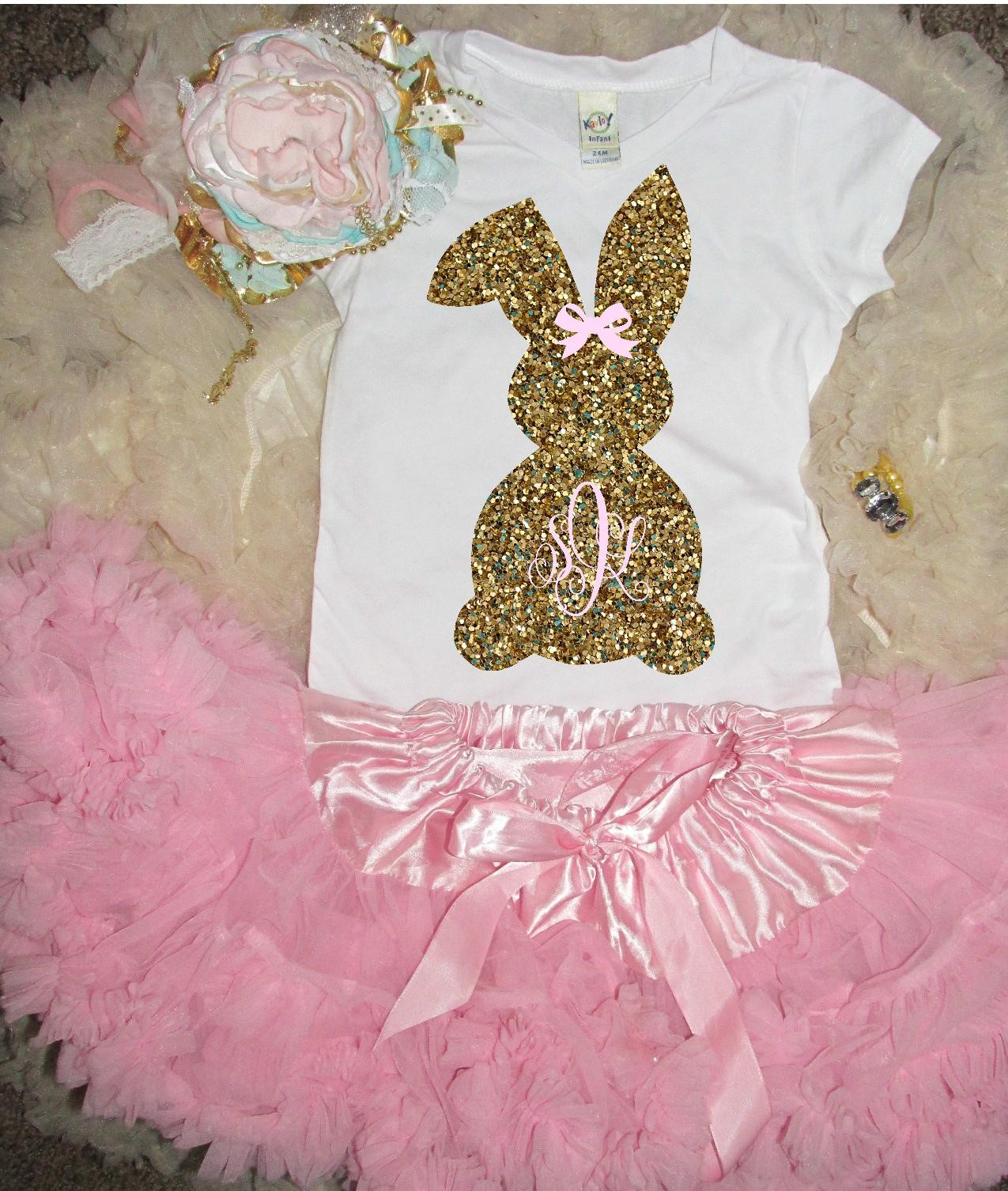 Little Bunny Monogram Easter Glitter Girls Shirt Sparkle Couture