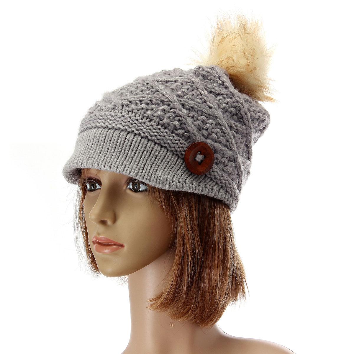 53f1be53359 ... Women Ladies Button Crochet Knit Beret Hat Ski Baggy Beanie Ball Woolen  Cap - Thumbnail 2 ...