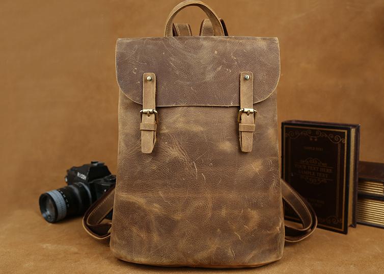 Handmade Leather Backpack  Vintage Leather Macbook Briefcase Leather School  Bag Backpack (C142) c5ffc3857057