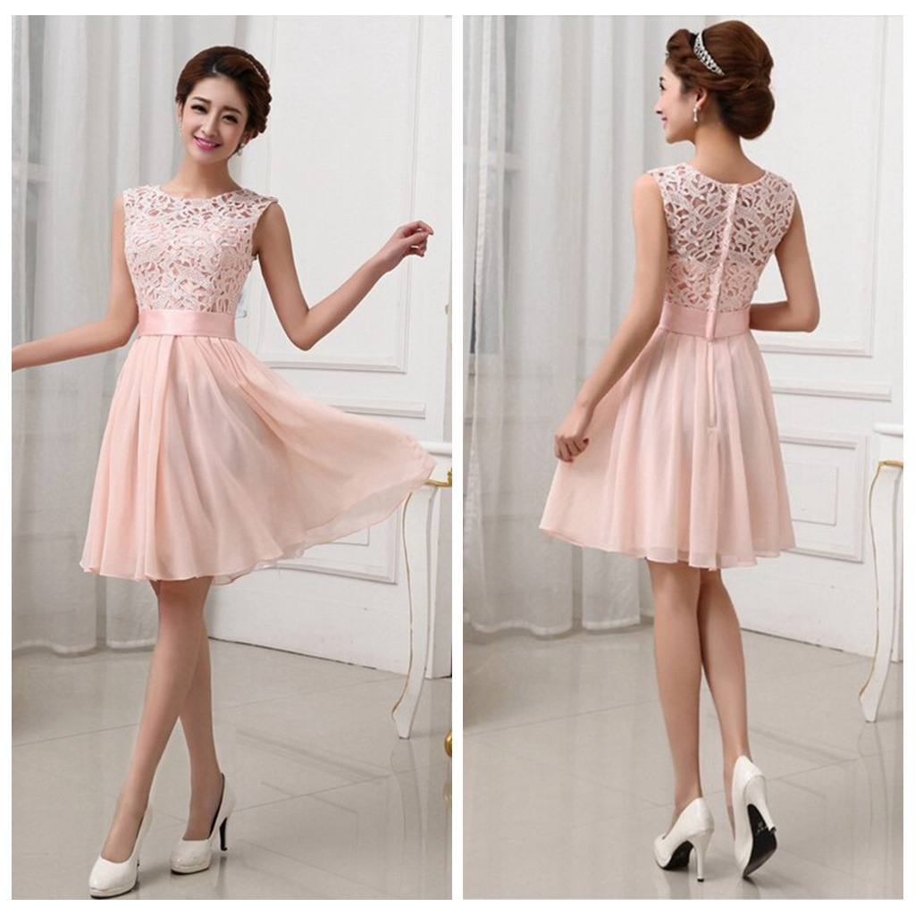 Lace Bridesmaid Dresses Short Chiffon Pink