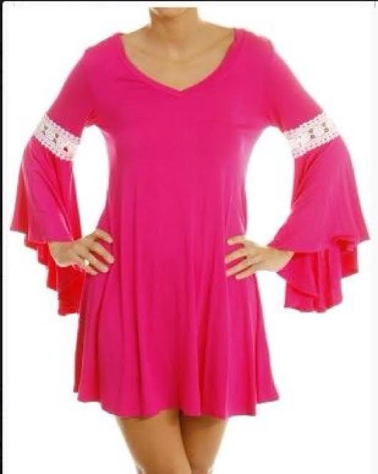 20a1054ed772d PINK V-NECK CROCHETED BELL SLEEVE PLUS SIZE TUNIC/DRESS · Sweet ...