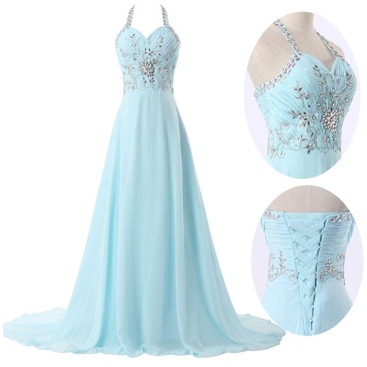 2016 Gorgeous Chiffon Halter Prom Dress 2016 A-Line Corset Evening ...