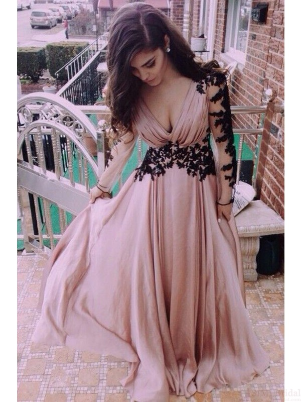 A-Line Real Made Charming Prom Dress,Appliques Formal Dresses ...