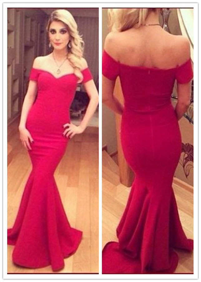 b30f11a9cef9 Red Long Off Shoulder Bodycon Mermaid Evening Dress
