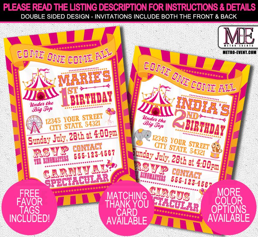 Carnival Birthday Party Invitations On Storenvy