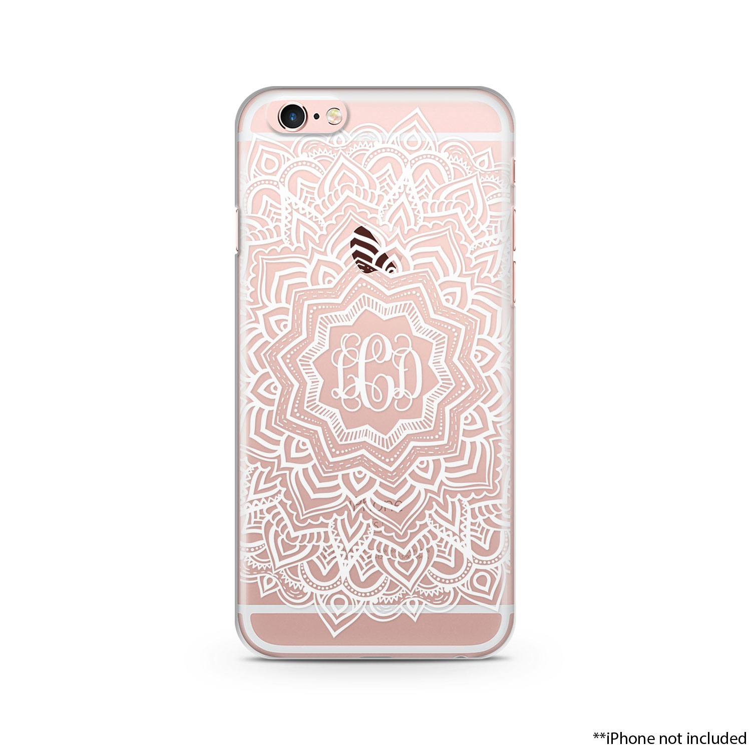 best sneakers 30749 64c09 White Henna iPhone Case Monogram Mandala iPhone case, iPhone 6 plus clear  case Transparent iPhone Case 004 from Lili Designers