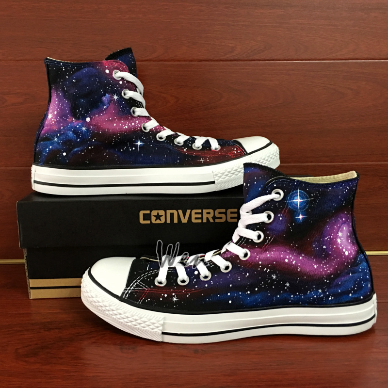 3577b99f8677de Canvas Shoes Galaxy Converse All Star Custom Design Hand Painted ...