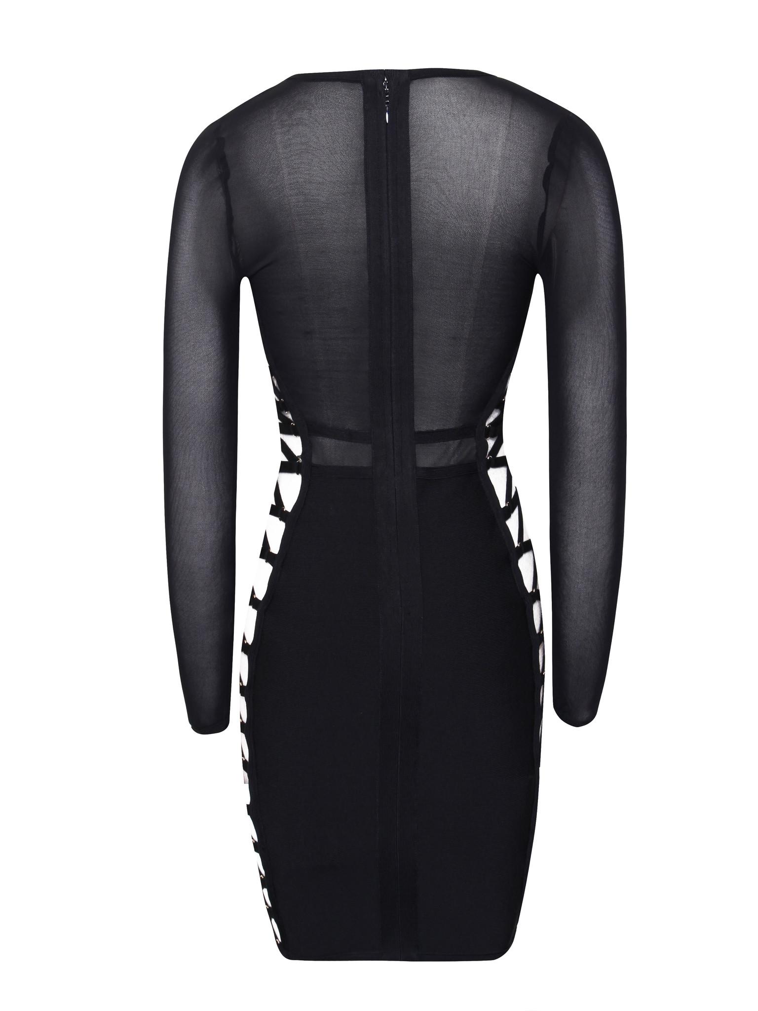 4c59a7721eca6 ... Devon Windsor Cutout Tie Up Detail Mesh Long Sleeve Bandage Dress -  Thumbnail 2 ...