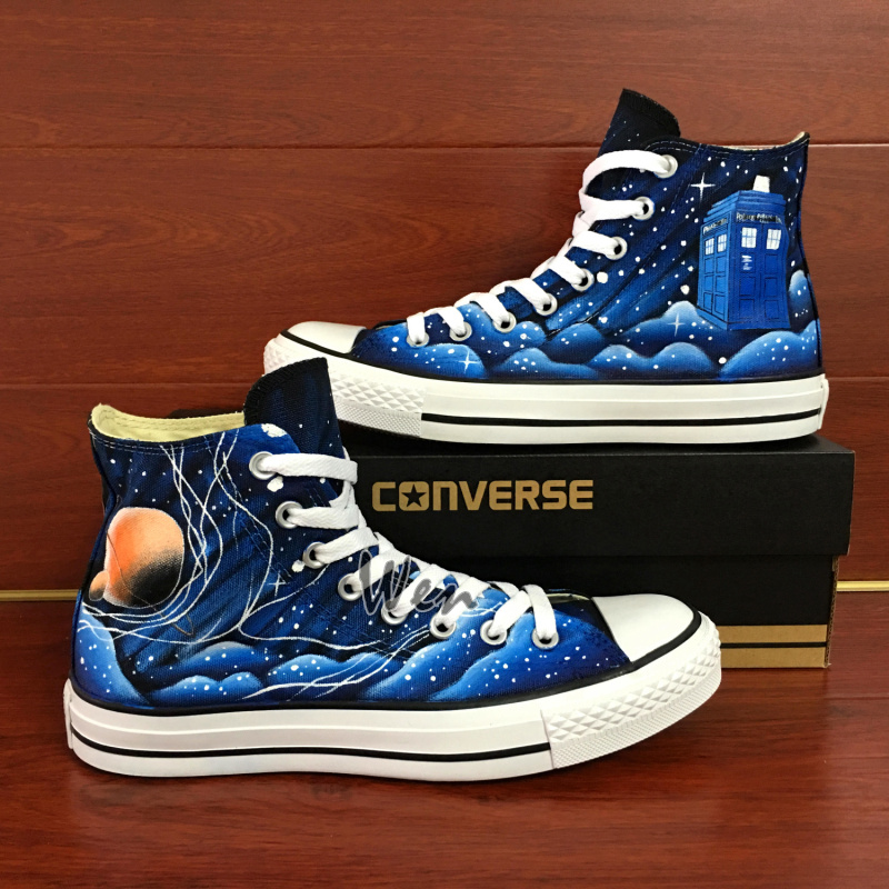 f6964ad15a46 Galaxy Converse All Star Police Box Design Custom Hand Painted Shoes ...