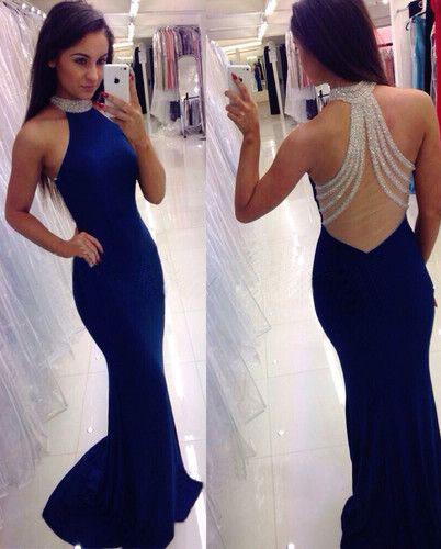 71c676d8c87 Sexy Open Back Mermaid Blue Prom Dress