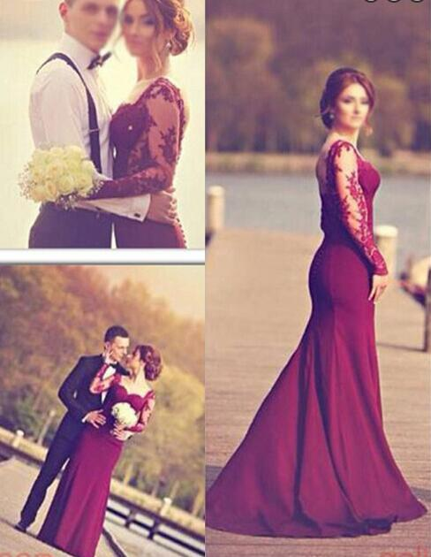 Elegant prom dress, Long Sleeves prom dress, Top Court Train Long ...