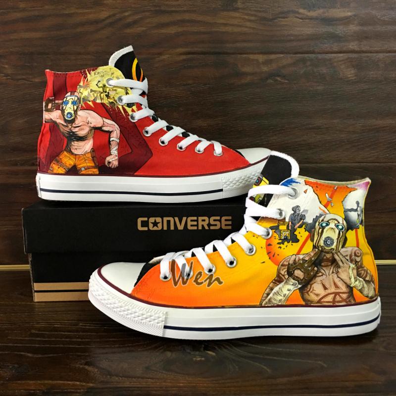 6ecbd14aa0 Converse All Star Borderlands Custom Design Hand Painted Shoes Men Women's  Sneakers Unique Gifts Canvas Shoes High Classic Skateboarding Shoes
