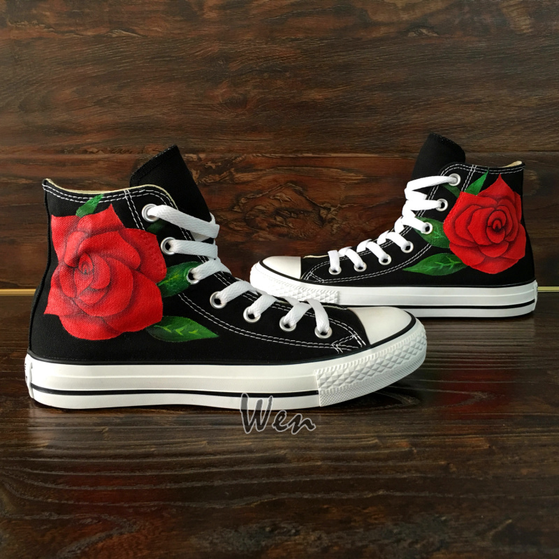 67ad13518e09 Flower Red Rose Original Design Converse All Star Custom Design Hand ...