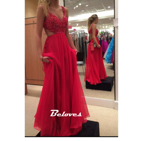 Red Beaded Sweetheart Open Back Prom Dress With Straps
