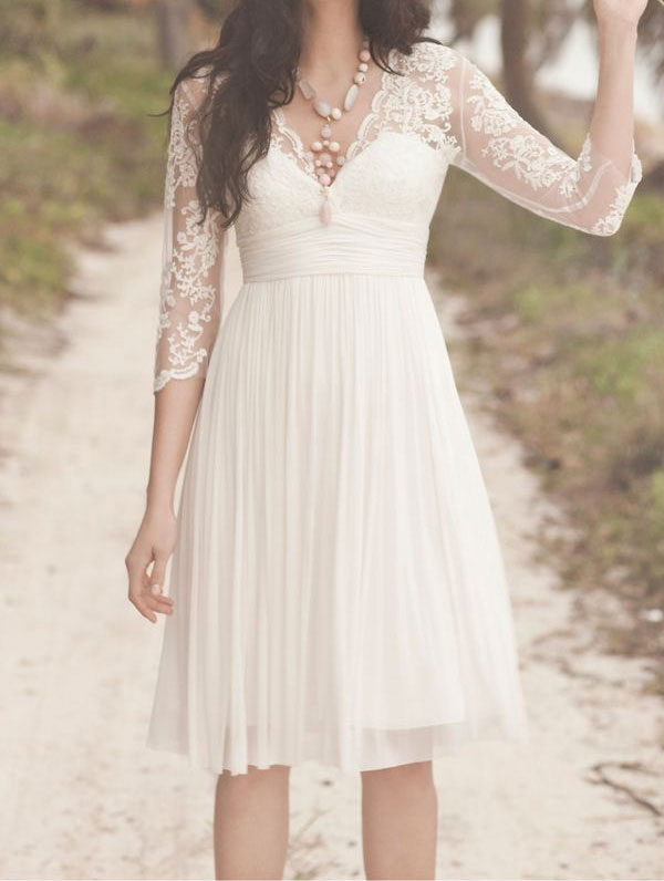 Half Sleeve V Neck Lace Short Bridal Gown Beach Wedding Dresses Bb0013 From Diydresses