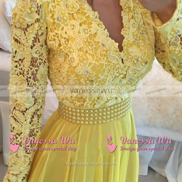 4f28d1503c ... Long Sleeves Lace Prom Dresses with Open Back, Plunge V-neck Prom Dress  with ...