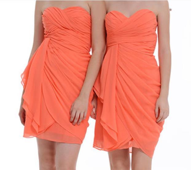 fe8a506ec790 New Fashion Sweetheart Short Mini Orange Chiffon Bridesmaid Dresses 2016,Bridesmaid  Dress LB06