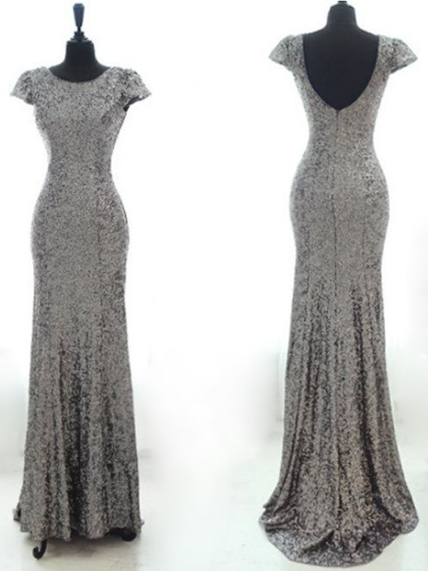 ab5d933a9 sparkle gray sequin mermaid cap sleeves prom dress